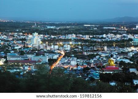 Nakornsawan of Thailand with bird's eye view  - stock photo