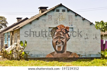NAKURU, KENYA - JANUARY 24: a wall mural on January 24, 2014 in Nakuru, Kenya. Nakuru is the largest town in the Kenyan mid-west with 307,990 inhabitants  - stock photo