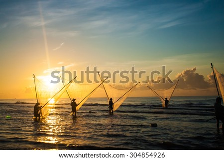 Nam Dinh, VIETNAM - August 1 :. Fishermen working in the fishing village of Hai Hau, Vietnam on August 1, 2014 in Hai Hau district, Nam Dinh .