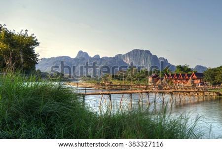 Nam Song River in Vang Vieng, Laos - stock photo