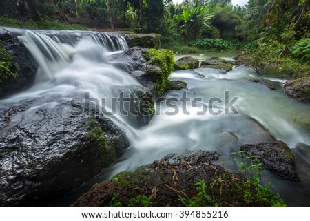 Nam Tum waterfall in tropical forest of Chanthaburi province east of thailand - stock photo