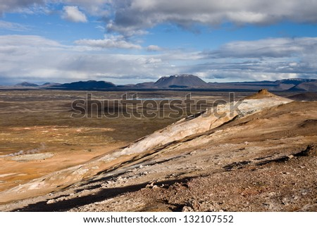 Namaskard geothermal area - stock photo