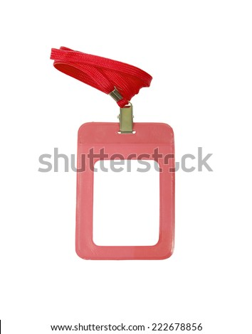 Name Tag With Lanyard on White - stock photo