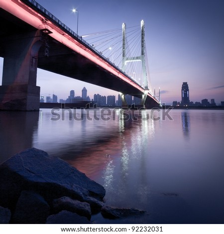 named bayi bridge in the night of shanghai china.
