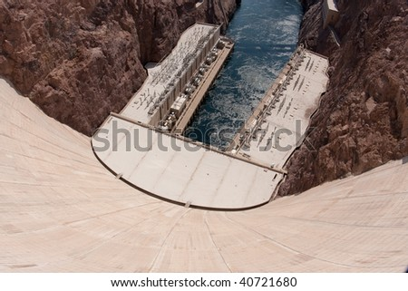 Named one of the Top 10 Construction Achievements of the 20th Century, Hoover Dam continues to draw crowds more than 70 years after its creation. - stock photo