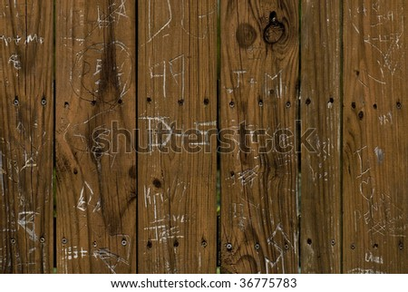 names carved in wood - stock photo