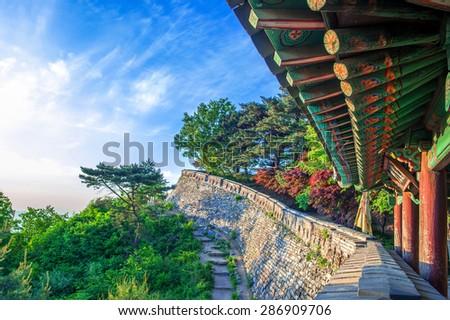 Namhansanseong Fortress in South Korea, UNESCO World Heritage site. - stock photo