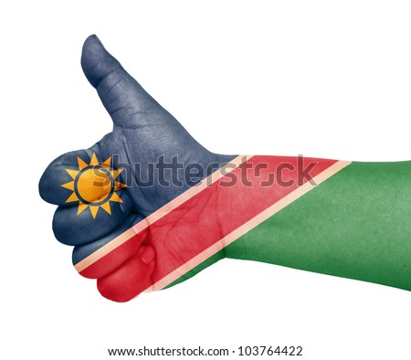Namibia flag on thumb up gesture like icon on white background - stock photo