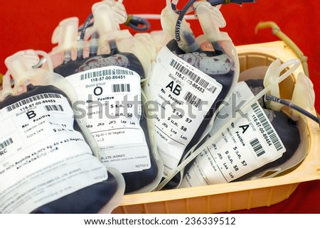 NAN-DECEMBER 5 :Human blood in storage of celebrate the birthday King Bhumibol Adulyadej. People blood donors day December 5, 2014 at Nan Hospital Nan province of Thailand. - stock photo