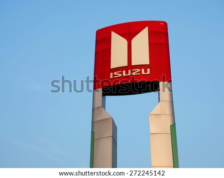 NAN, THAILAND - APRIL 19: Isuzu Motors automobile dealership sign in Nan, Thailand on April 19, 2015. ISUZU is a Japanese commercial vehicles and diesel engine manufacturing company. - stock photo
