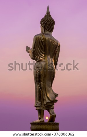 Nan, Thailand, February 13: Golden Buddha image of Wat Phra That Khao Noi, Buddhist Temple and Historic Site National Nan, northern of Thailand on ebruary 13, 2016 in Nan, Thailand. - stock photo