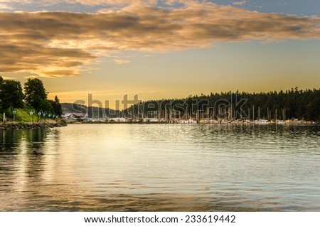Nanaimo Harbour at Sunset - stock photo