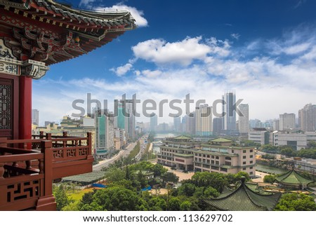 nanchang scenery,view from the tengwang pavilion,China - stock photo