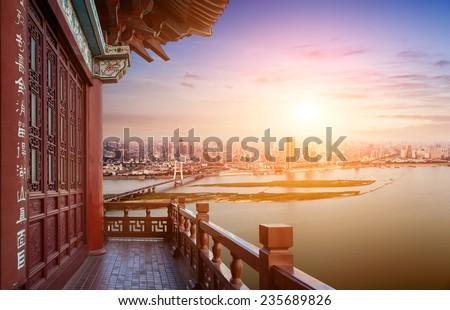 nanchang scenery,view from the tengwang pavilion,China  - stock photo