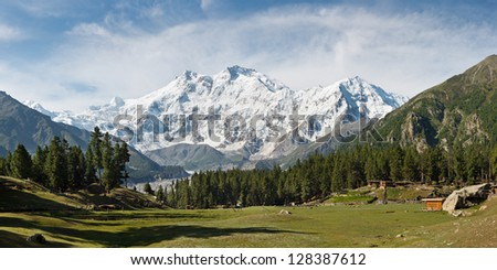 Nanga Parbat and Fairy Meadows Panorama, Himalaya, Pakistan. The ninth highest mountain in the world and western anchor of the Himalaya seen from the idyllic Fairy Meadows, Pakistan. - stock photo