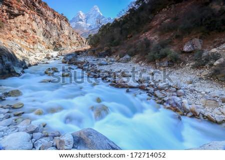 nangkar tsang from nepal in everest himalaya trek - stock photo