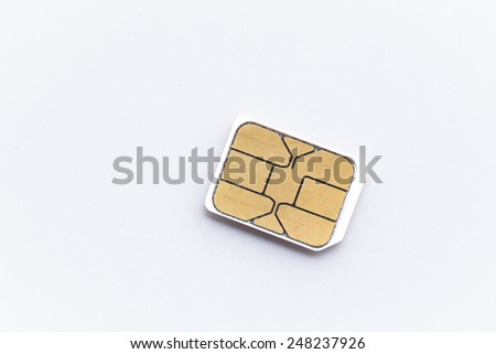 nano sim card for cellphone on white background - stock photo