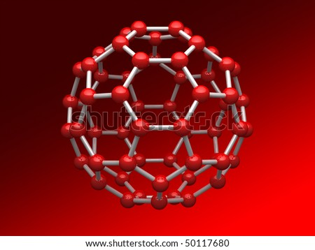 Nano sphere from carbon atoms on gradient background - stock photo