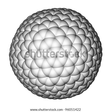 Nanocluster fullerene C540 space filling molecular model on a white background - stock photo