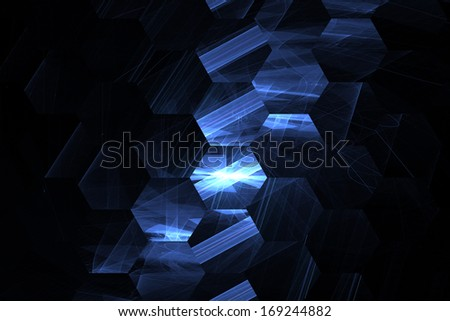 Nanotechnology, hexagonal objects in row, computer generated background - stock photo