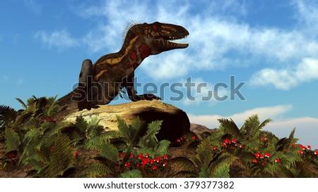 Nanotyrannus dinosaur resting - 3D render - stock photo