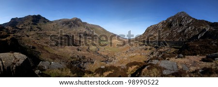 Nant Francon and the Ogwen valley in the heart of Snowdonia National park North Wales
