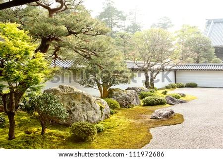 Nanzen-Ji Temple Zen Rock Garden, Kyoto - stock photo