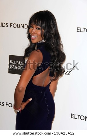 Naomi Campbell at the Elton John Aids Foundation 21st Academy Awards Viewing Party, West Hollywood Park, West Hollywood, CA 02-24-13 - stock photo