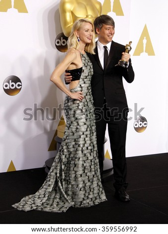 Naomi Watts and Tom Cross at the 87th Annual Academy Awards - Press Room held at the Loews Hollywood Hotel in Los Angeles, USA February 22, 2015. - stock photo