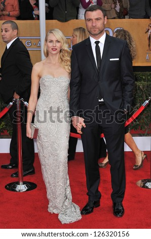 Naomi Watts & Liev Schreiber at the 19th Annual Screen Actors Guild Awards at the Shrine Auditorium, Los Angeles. January 27, 2013  Los Angeles, CA Picture: Paul Smith - stock photo