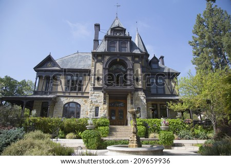 NAPA VALLEY, CA - APRIL 15: The historical Rhine House at Beringer Vineyards in Napa Valley on April 15, 2014. The Rhine House built in 1883 has been placed on National Register of Historic Places