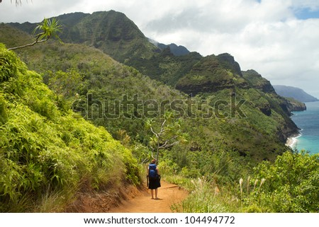 Napali Coast Trail - Kauai - stock photo