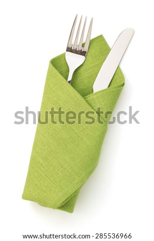 napkin, fork and knife isolated on white background - stock photo