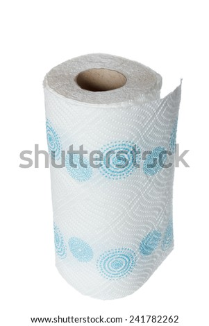 Napkin paper towel kitchen roll with blue patterns. Object isolated on white background without shadows - stock photo