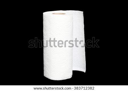 napkin roll isolated on black background - stock photo