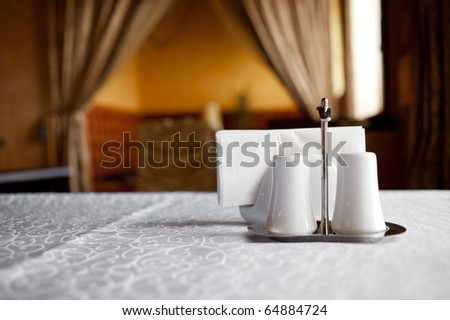 Napkins are on the table in the elegant restaurant