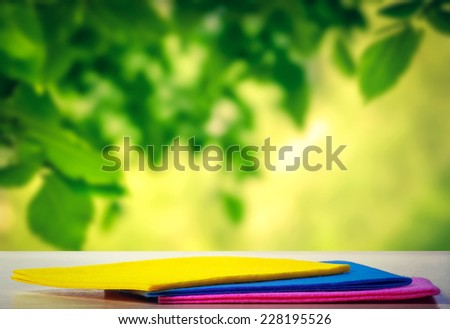 Napkins for a picnic on the table - stock photo