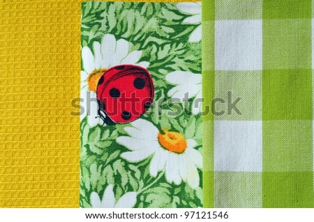 Napkins Variety, yellow and green pattern - stock photo
