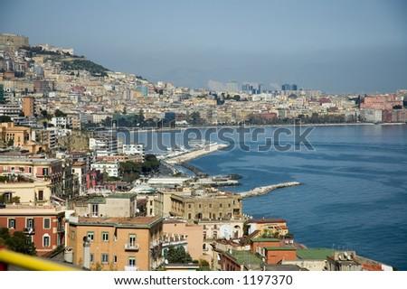 Naples bay scenic view, Italy - stock photo