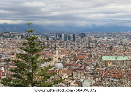 Naples from the top of the mountain Italy blue sky Vesuvius background