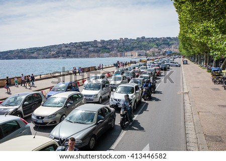 NAPLES, ITALY - APRIL 23, 2015.Traffic in the city - Naples city, one of the most visited Italian city in the Europe.   - stock photo