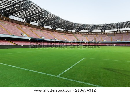 NAPLES, ITALY- AUGUST 2, 2014: Interior view of the empty Stadio San Paolo before the friendly match Napoli vs Paok.