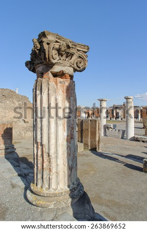 NAPLES, ITALY - JANUARY 19, 2010: Ruined site of Basilica in Pompeii. Pompeii is a ruin of acient Roman City near Naples in Italy. - stock photo