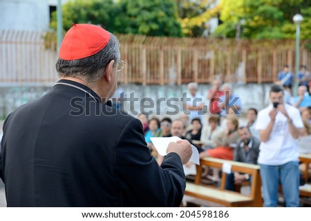 NAPLES,ITALY JULY,11:Cardinal Sepe  during a religious ceremony. He was appointed Archbishop of Naples on 20 May 2006 by Pope Benedict XVI on  july 11, 2014 in Naples - stock photo