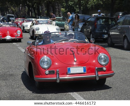 Naples, Italy, July 02, 2016: Vintage red Porsche 356 during the annual historical re-enactment of the Grand Prix of Naples