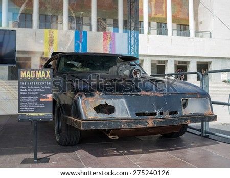 NAPLES, ITALY- MAY 2: at the 17th edition of the international exhibition of comic Comicon, is Warner Bros with original vehicles of the film Mad Max Interceptor on  may 2, 2015 in Naples - stock photo
