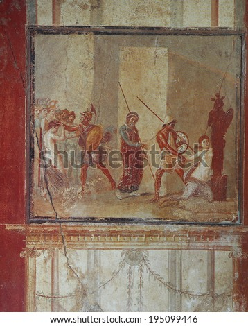 NAPLES, ITALY � MAY 14, 2014:  Frescoes in the Ruins of the old city of Pompeii, near Naples, Italy, May 14 2014,  in  Naples, Italy.