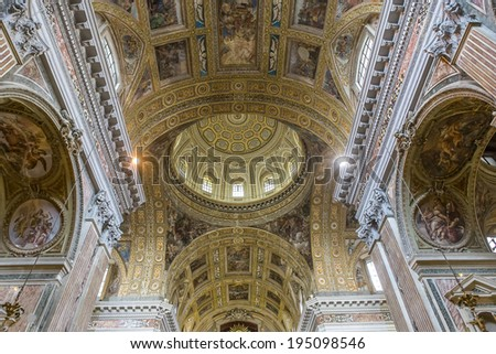 NAPLES, ITALY � MAY 15, 2014: Interiors and details of barroco church of the Gesu Nuovo, built year 1601, May 15, 2014,  in  Naples, Italy.