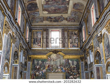 NAPLES, ITALY - MAY 16, 2014 : Interiors and details of San Paolo Maggiore church, May 16, 2014,  in  Naples, Italy.