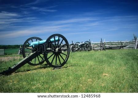 Napoleon artillery battery  near AngleGettysburg National Historical Battlefield,Pennsylvania, - stock photo